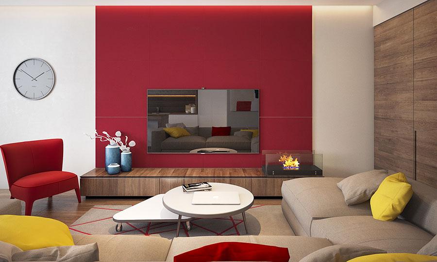 Idee per arredare un salotto con pareti e accessori rossi n.05