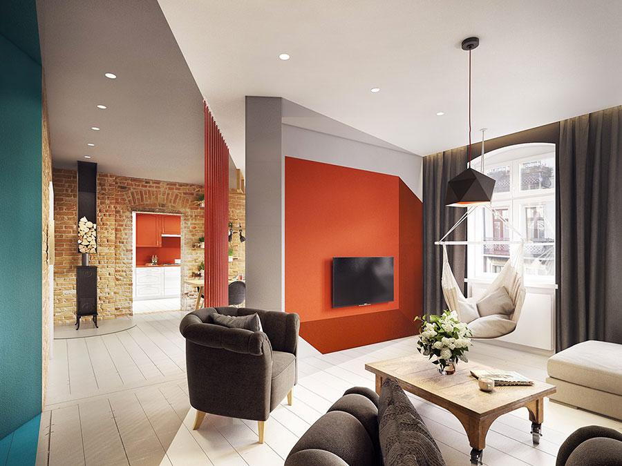 Idee per arredare un salotto con pareti e accessori rossi n.09