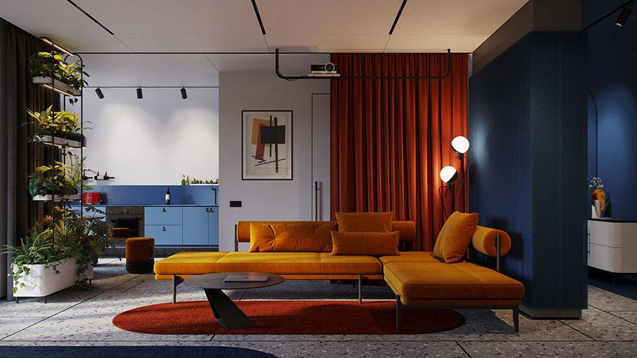 Idee per arredare un salotto con pareti e accessori rossi n.10