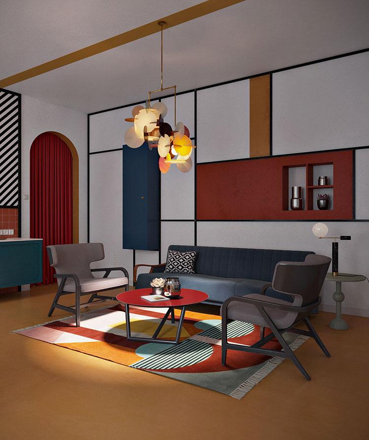 Idee per arredare un salotto con pareti e accessori rossi n.11