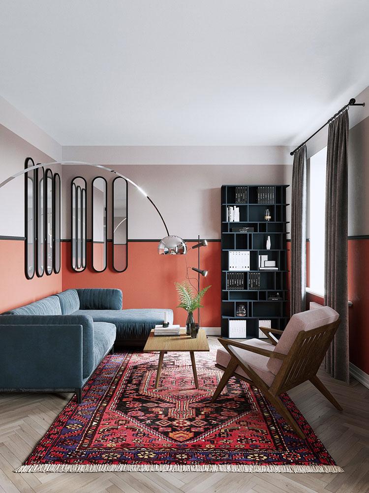 Idee per arredare un salotto con pareti e accessori rossi n.12