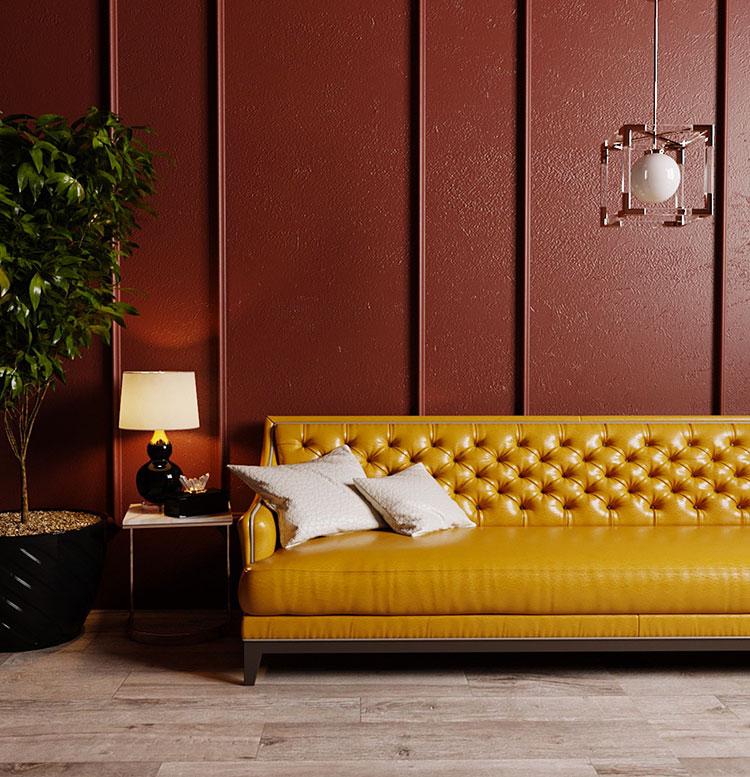 Idee per arredare un salotto con pareti e accessori rossi n.14