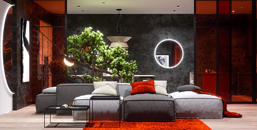 Idee per arredare un salotto con pareti e accessori rossi n.15