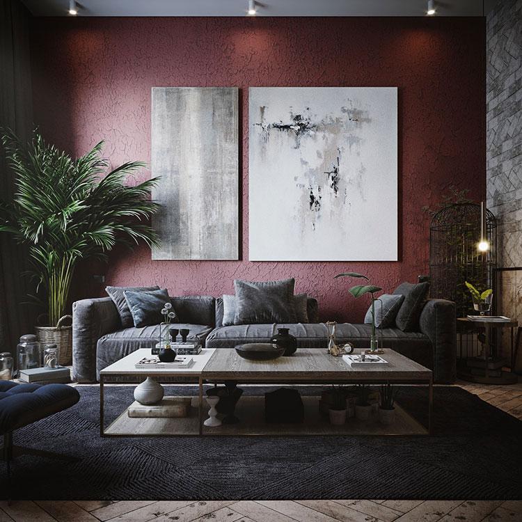 Idee per arredare un salotto con pareti e accessori rossi n.18