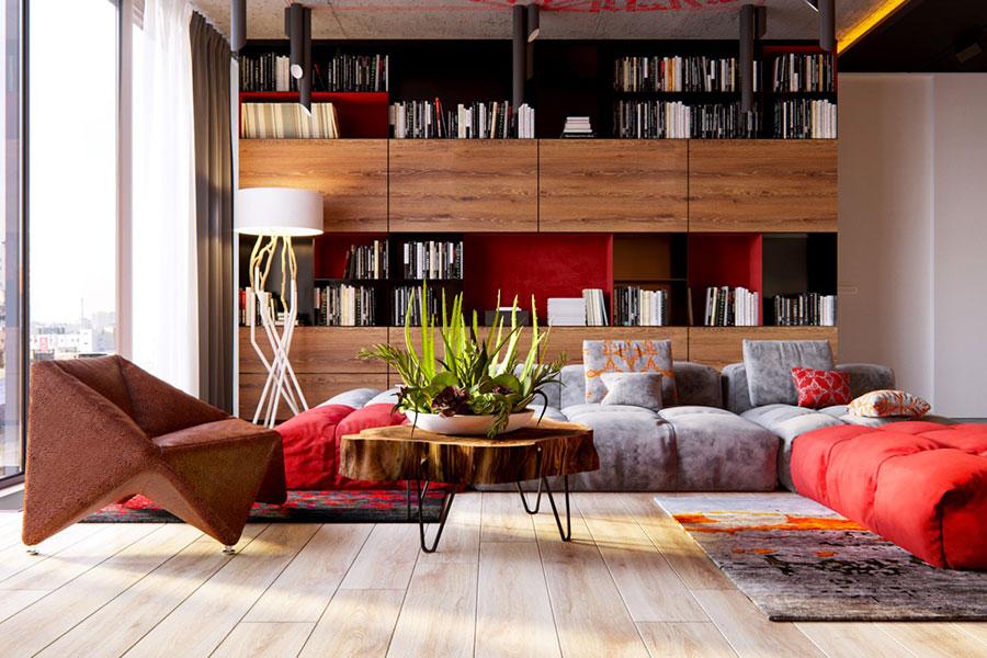 Idee per arredare un salotto con pareti e accessori rossi n.19