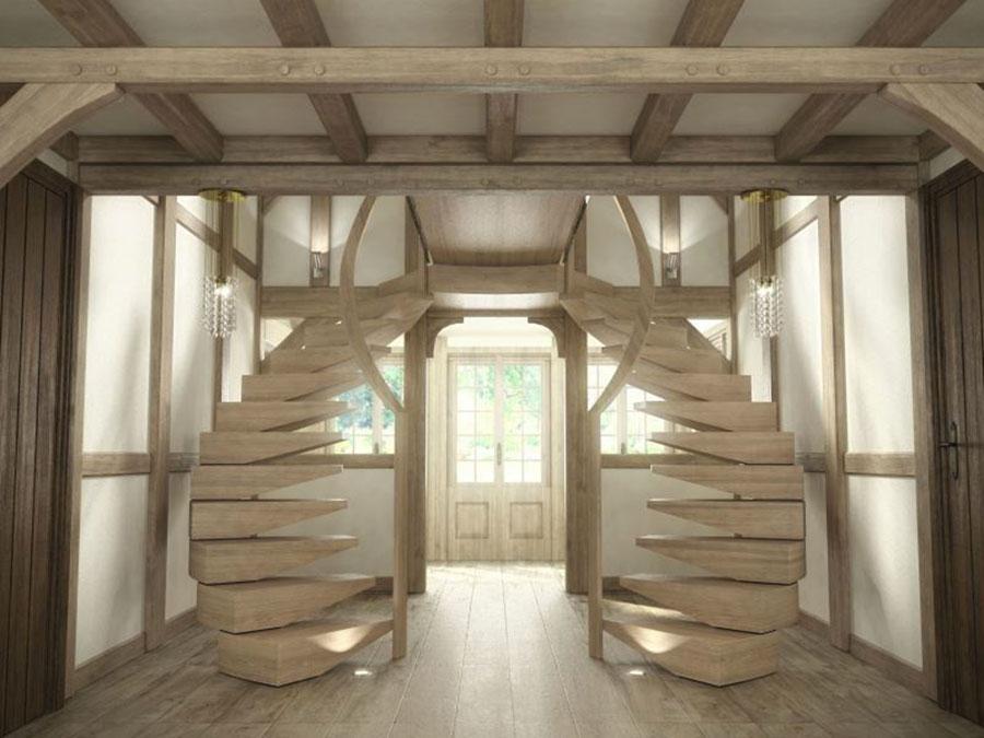 Modello di scala a sbalzo in legno sospesa n.01