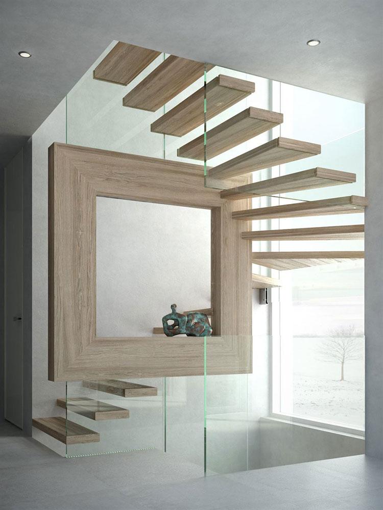 Modello di scala a sbalzo in legno sospesa n.02