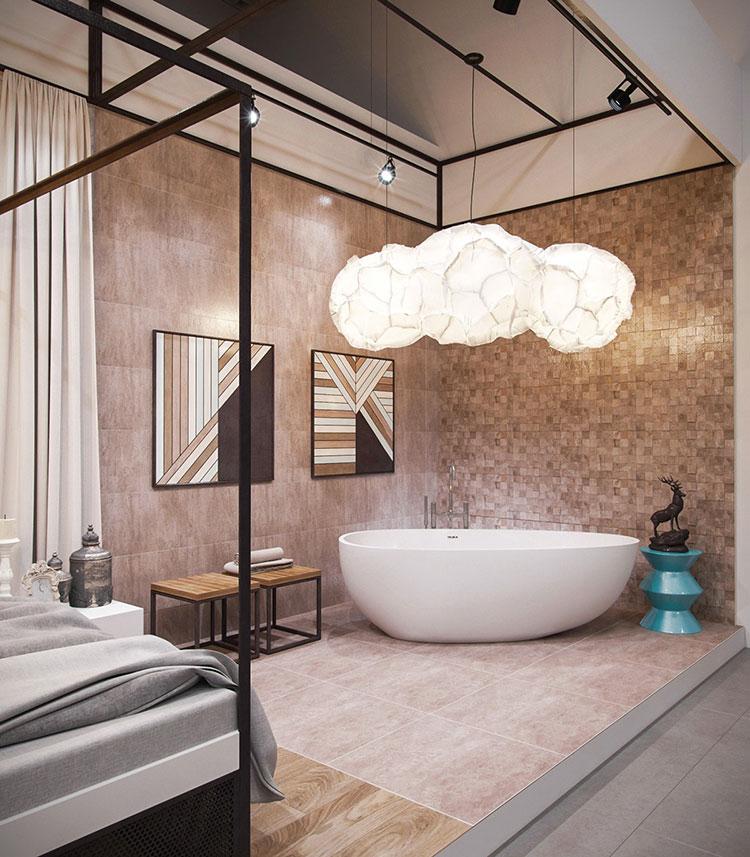 Idee per inserire una vasca da bagna in una camera da letto moderna n.01