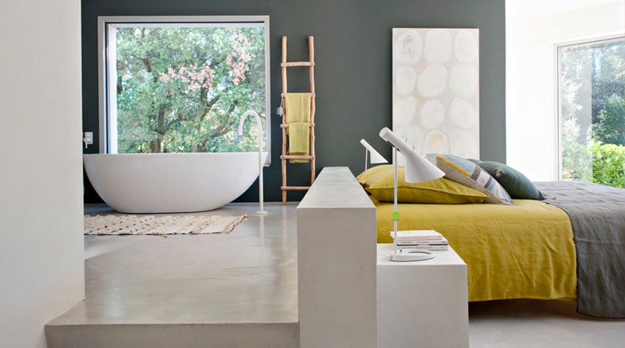 Idee per inserire una vasca da bagna in una camera da letto moderna n.03