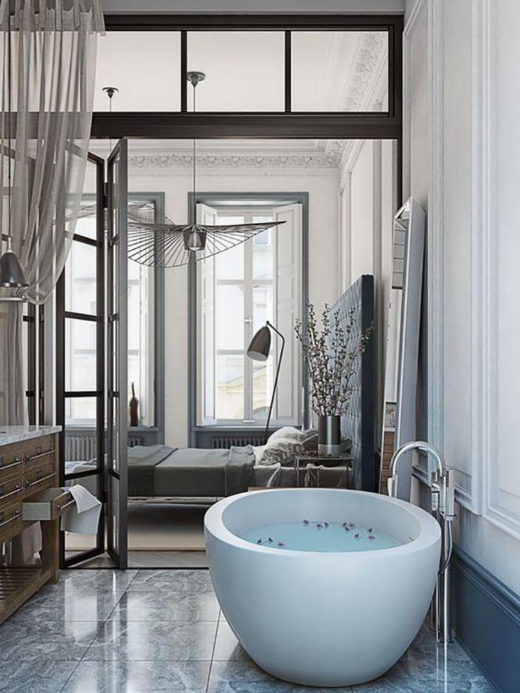 Idee per inserire una vasca da bagna in una camera da letto moderna n.15