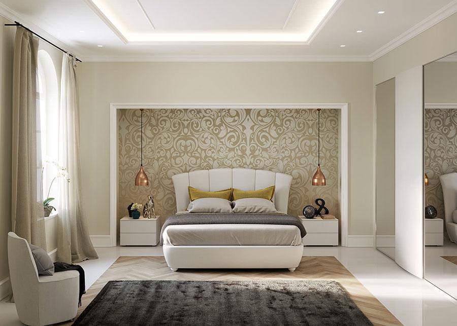 Modello di camera da letto contemporanea bianca n.03