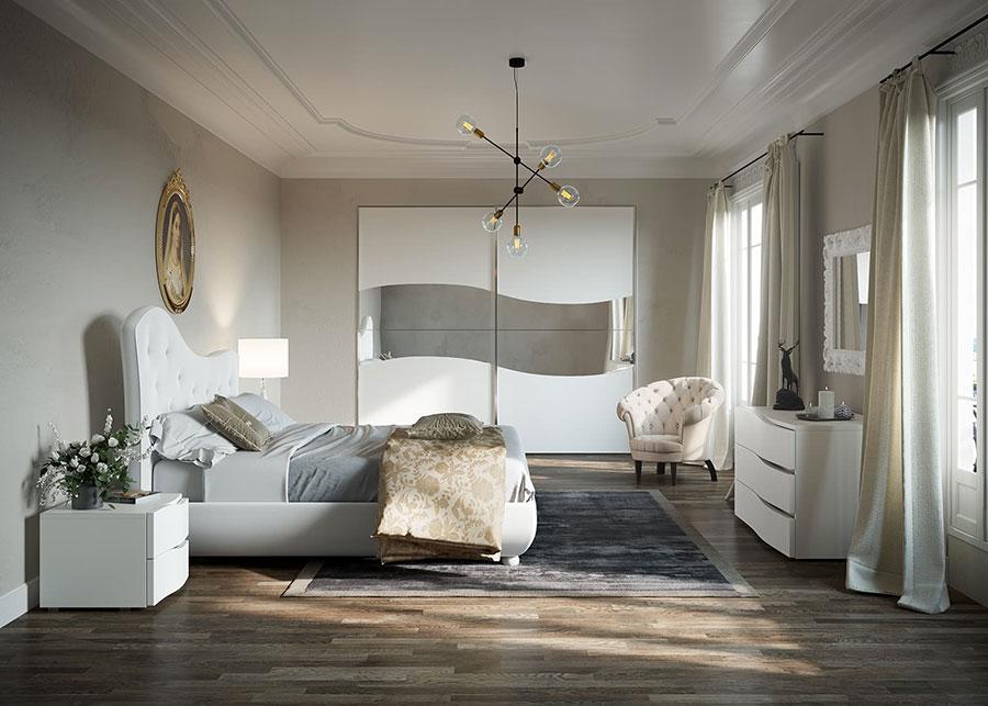 Modello di camera da letto contemporanea bianca n.04
