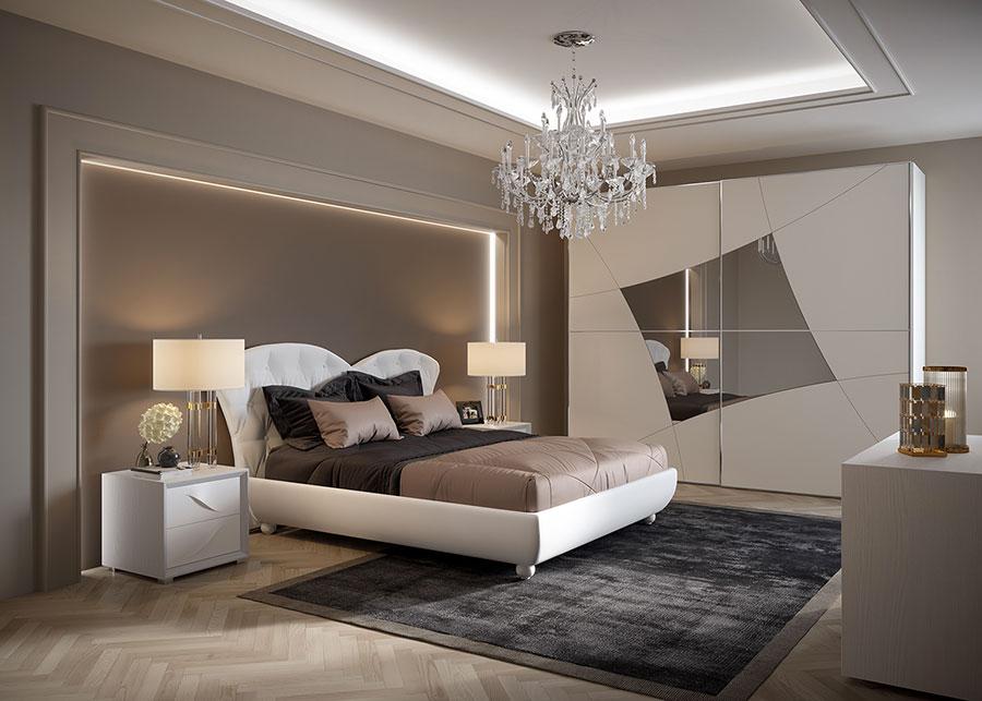 Modello di camera da letto contemporanea bianca n.05