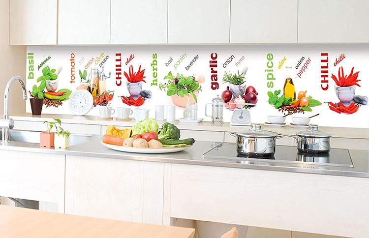 Modello di paraschizzi per cucina adesivo decorativo n.01