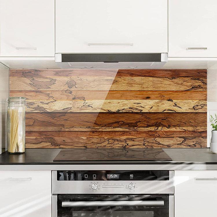 Modello di paraschizzi per cucina adesivo effetto legno n.02