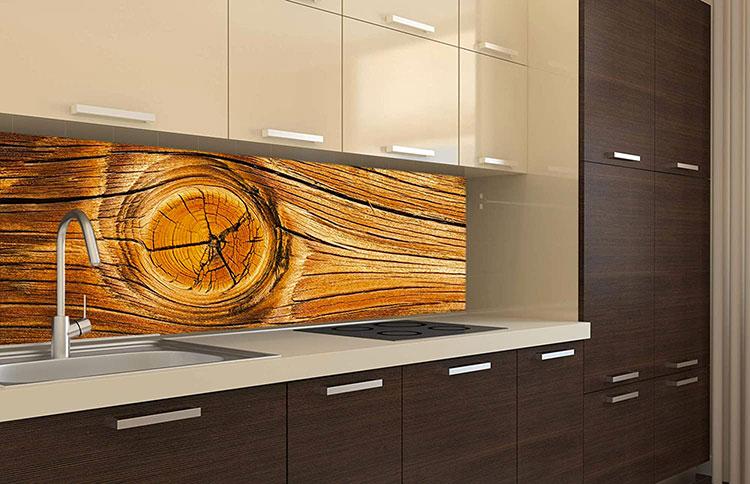 Modello di paraschizzi per cucina adesivo effetto legno n.03