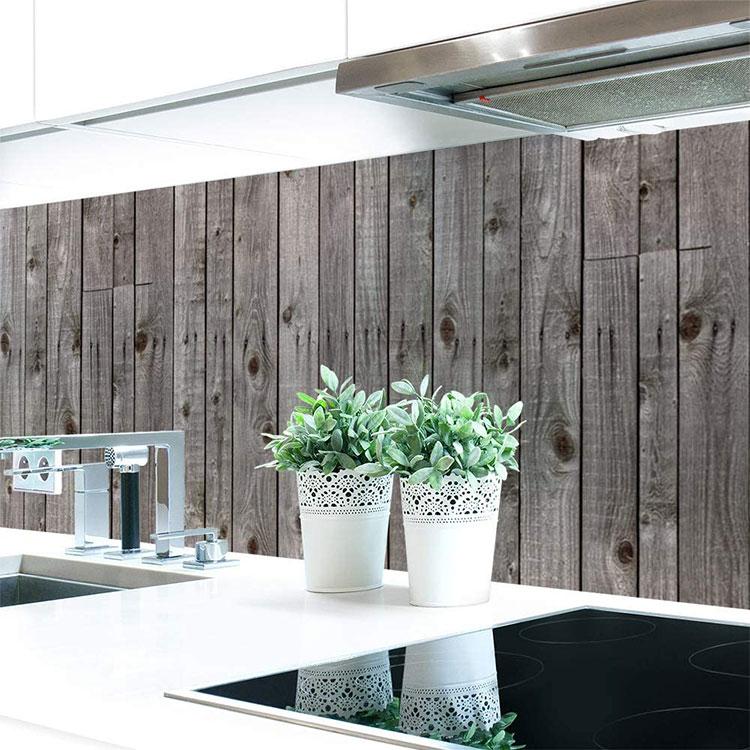 Modello di paraschizzi per cucina adesivo effetto legno n.04