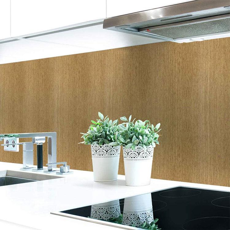 Modello di paraschizzi per cucina adesivo effetto legno n.05