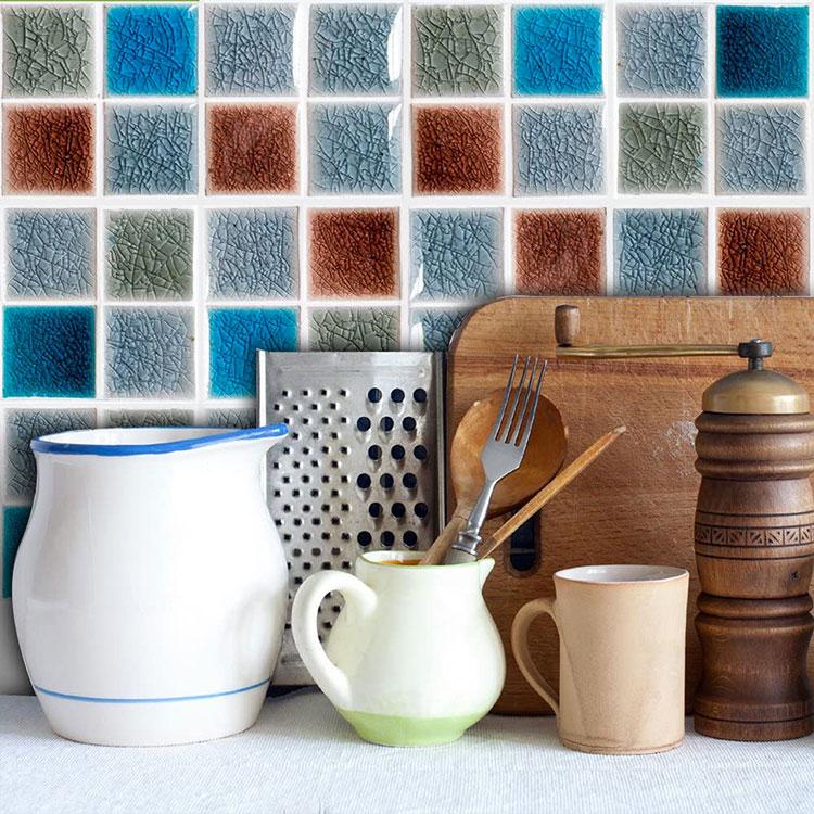 Modello di paraschizzi per cucina adesivo effetto mosaico n.01