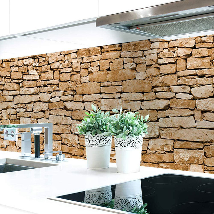 Modello di paraschizzi per cucina adesivo effetto pietra n.03