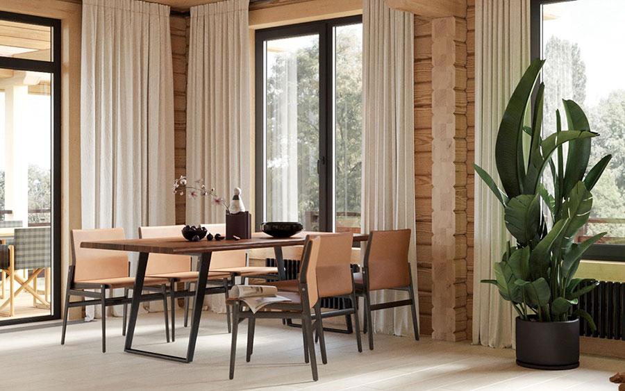 Arredamento per sala da pranzo in stile rustico moderno n.01