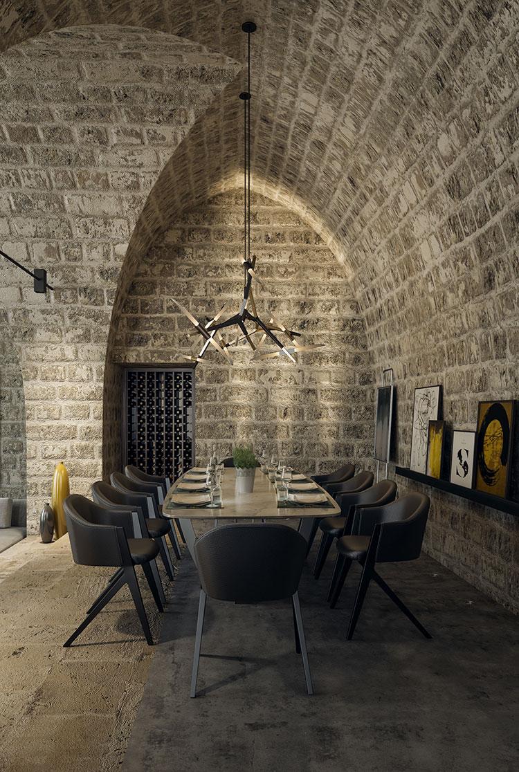 Arredamento per sala da pranzo in stile rustico moderno n.02