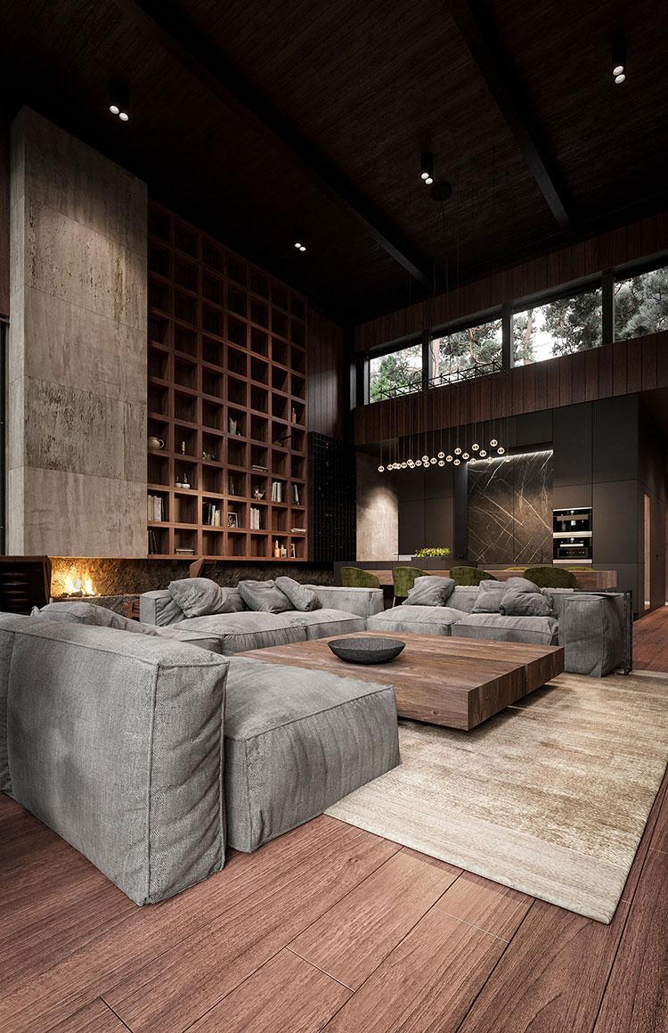 Arredamento per soggiorno in stile rustico moderno n.01