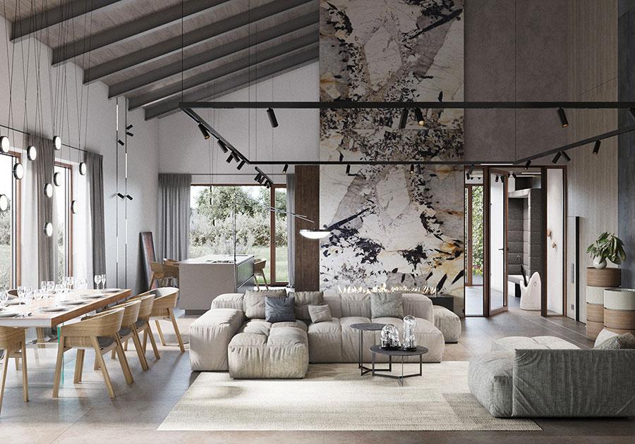 Arredamento per soggiorno in stile rustico moderno n.02