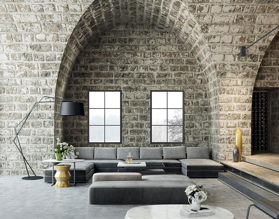 Arredamento per soggiorno in stile rustico moderno n.04