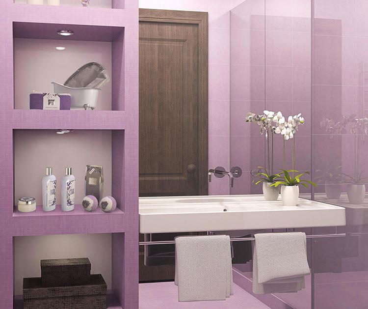 Pareti per bagno colore lavanda 01