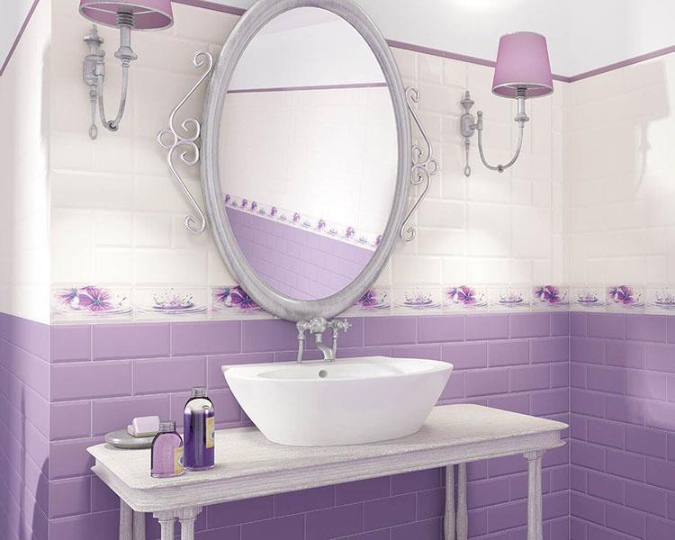Pareti per bagno colore lavanda 04