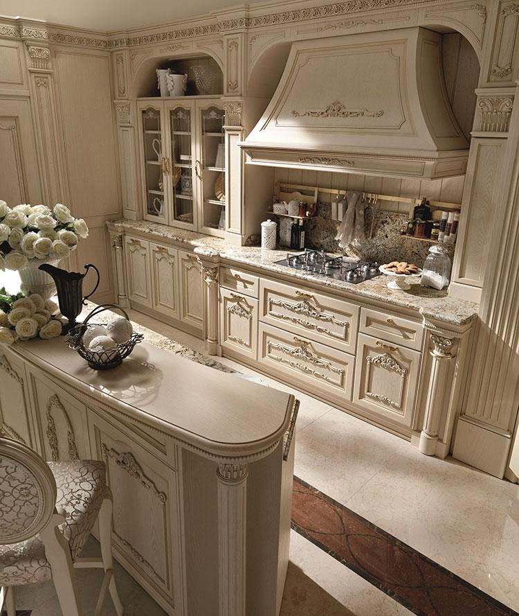 Modello di cucina classica avorio n.04