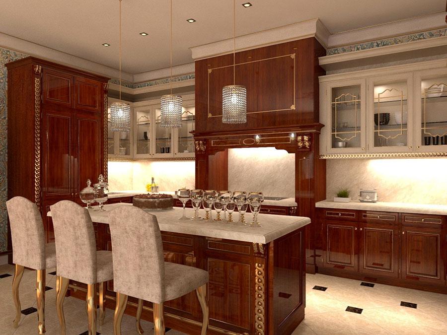 Modello di cucina classica avorio e noce n.02