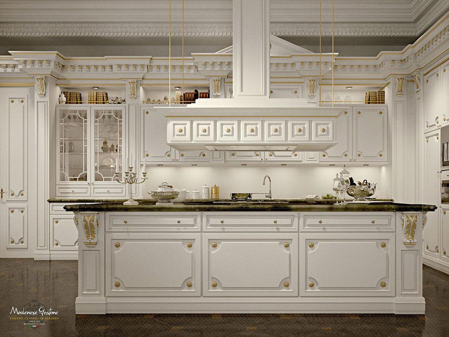 Modello di cucina classica avorio e oro n.01