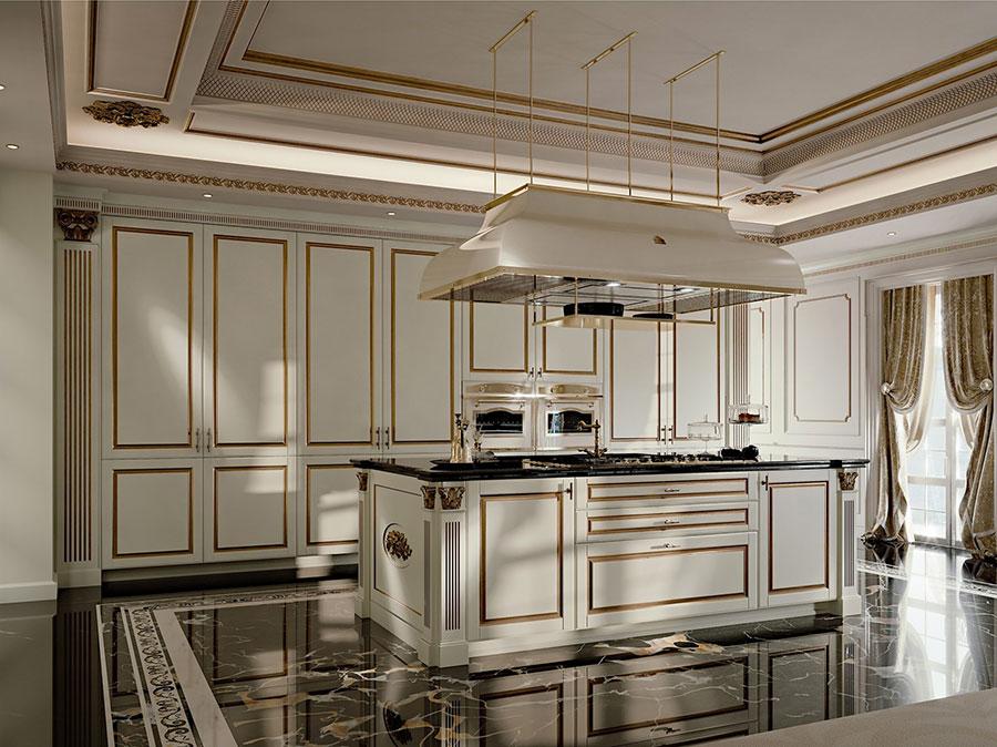 Modello di cucina classica avorio e oro n.02