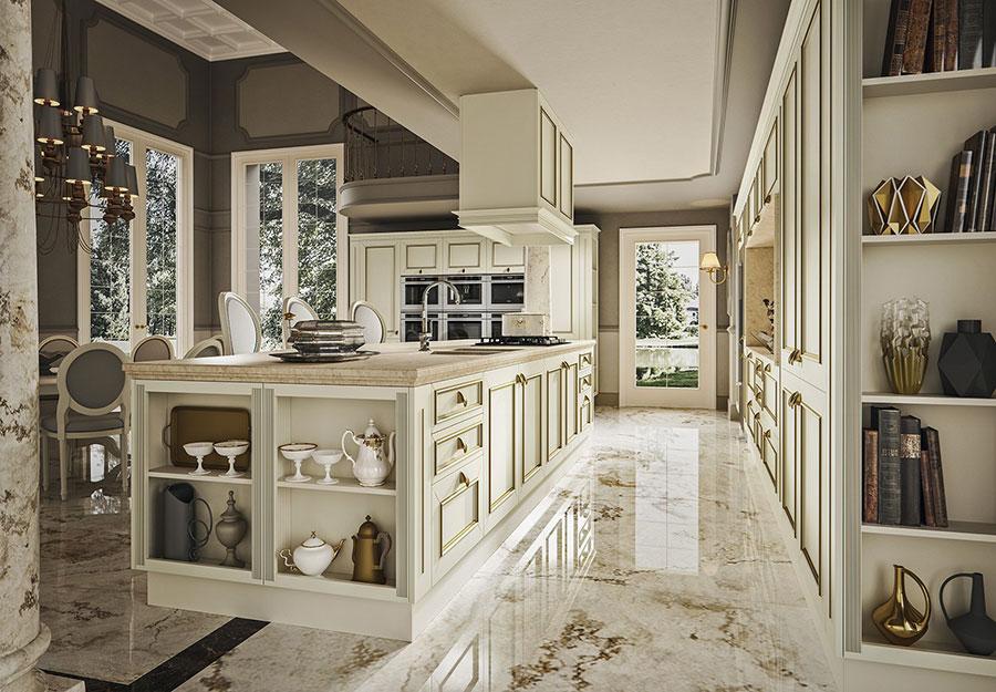 Modello di cucina classica avorio e oro n.03