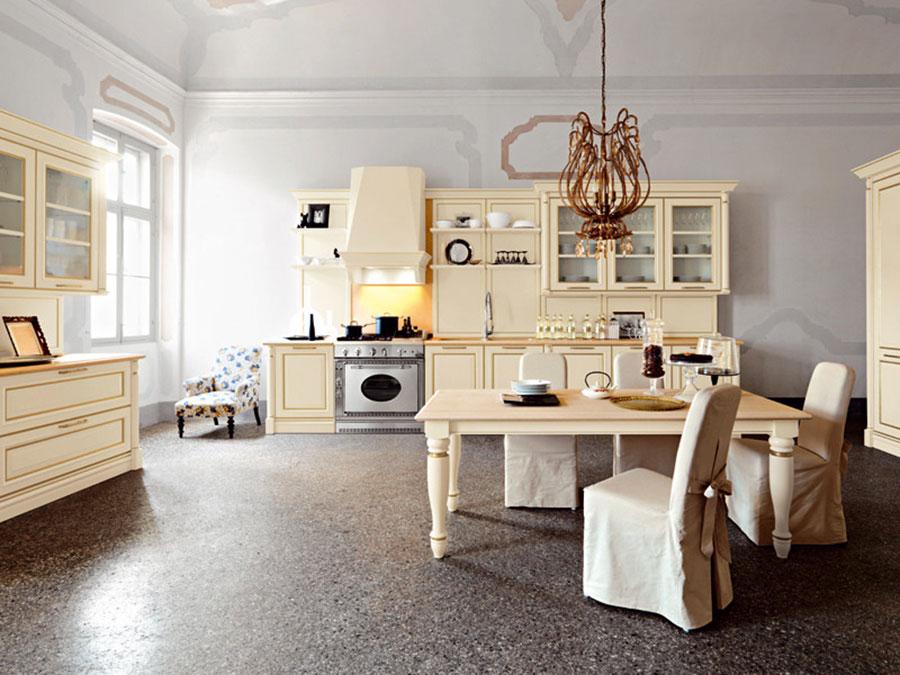 Modello di cucina classica avorio e oro n.04