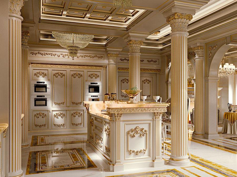 Modello di cucina classica avorio e oro n.05