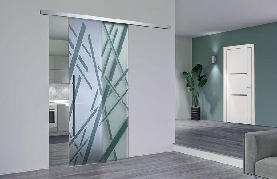 Modello di porta interna moderna in vetro n. 01