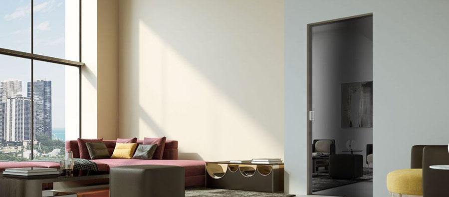 Modello di porta interna moderna in vetro n. 05