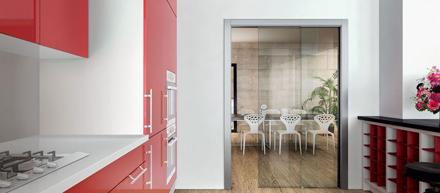 Modello di porta interna moderna in vetro n. 06