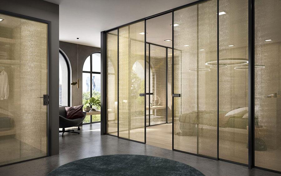 Modello di porta interna moderna in vetro n. 09