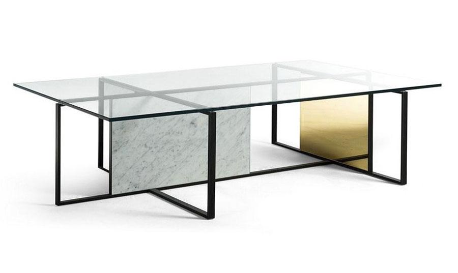 Modello di tavolino da salotto in vetro n.03