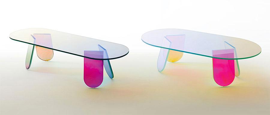 Modello di tavolino da salotto in vetro n.26