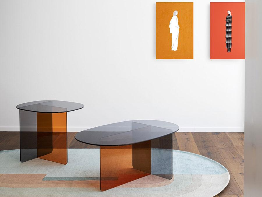 Modello di tavolino da salotto in vetro n.30
