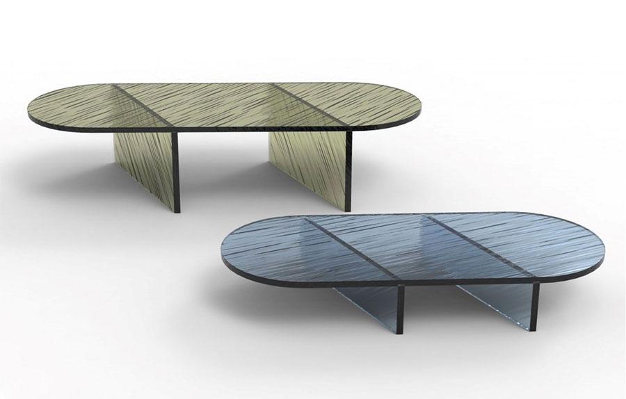 Modello di tavolino da salotto in vetro n.35