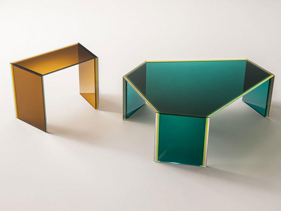 Modello di tavolino da salotto in vetro n.40