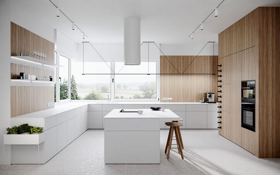 Modello di cucina senza pensili con finestra