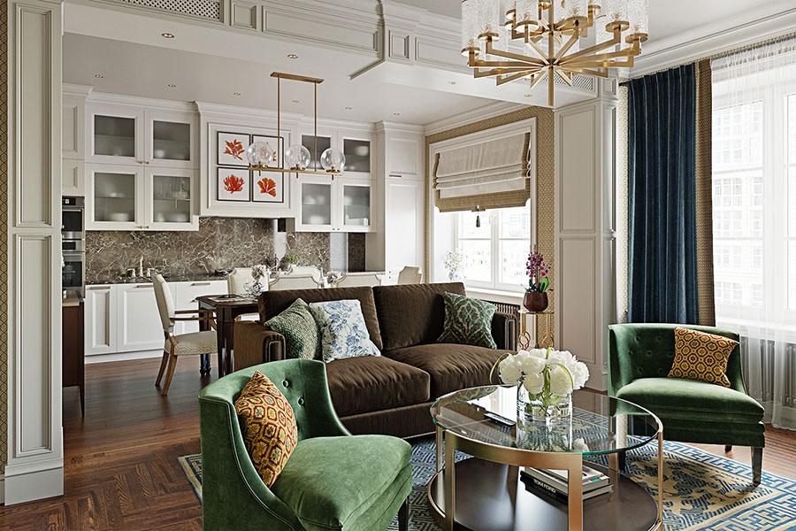 Progetto di open space cucina soggiorno classico n.01