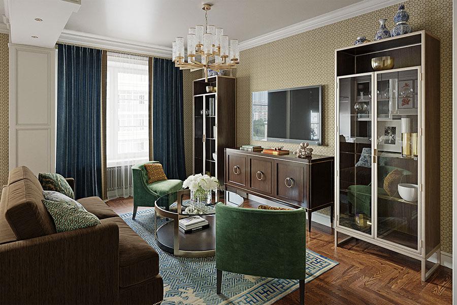 Progetto di open space cucina soggiorno classico n.02